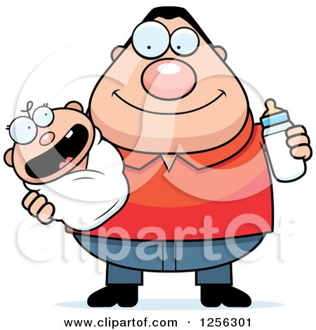 Clipart of a Happy Caucasian Father Holding a Baby and Bottle - Royalty Free Vector Illustration by Cory Thoman