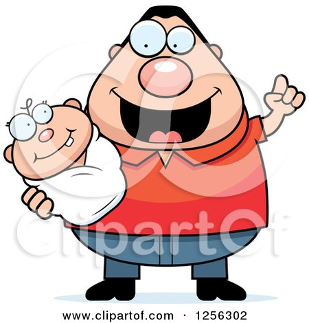 Clipart of a Happy Caucasian Father with an Idea, Holding a Baby - Royalty Free Vector Illustration by Cory Thoman