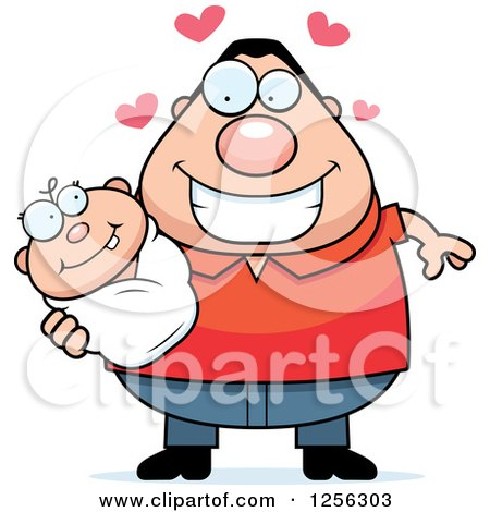Clipart of a Loving Caucasian Father Holding a Baby - Royalty Free Vector Illustration by Cory Thoman