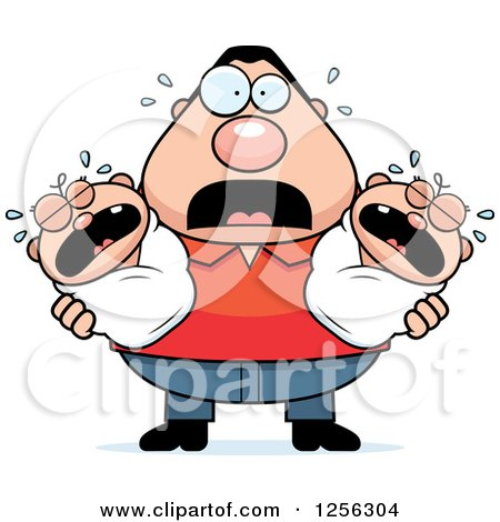 Clipart of a Stressed Caucasian Father Holding Twin Babies - Royalty Free Vector Illustration by Cory Thoman