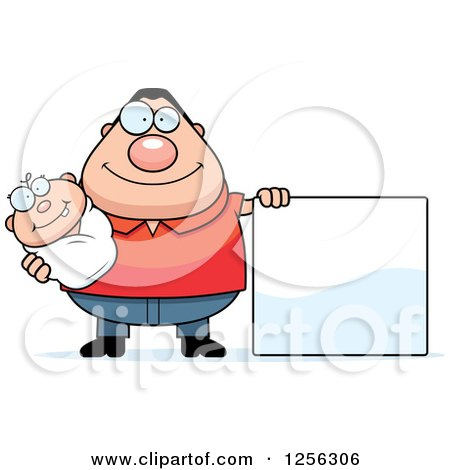 Clipart of a Happy Caucasian Father Holding a Baby by a Blank Sign - Royalty Free Vector Illustration by Cory Thoman