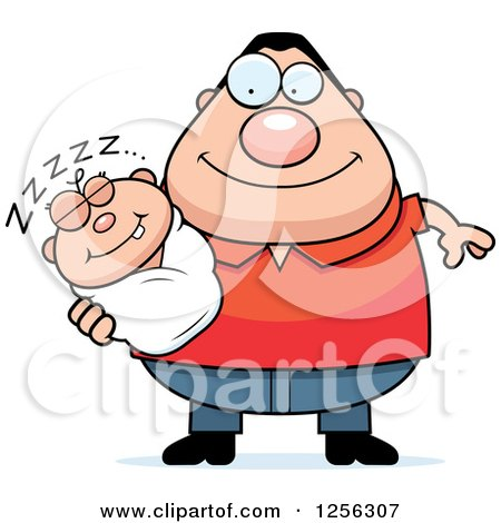 Clipart of a Happy Caucasian Father Holding a Sleeping Baby - Royalty Free Vector Illustration by Cory Thoman