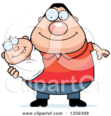 Clipart of a Happy Caucasian Father Holding a Baby - Royalty Free Vector Illustration by Cory Thoman