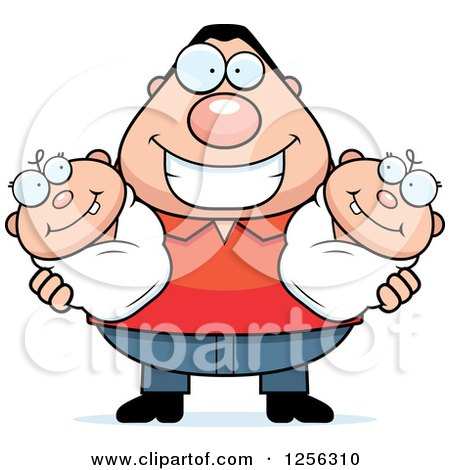 Clipart of a Happy Caucasian Father Holding Twin Babies - Royalty Free Vector Illustration by Cory Thoman