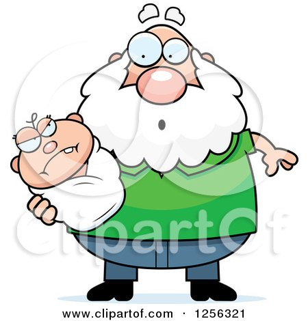 Clipart of a Surprised Caucasian Grandpa Holding an Evil Baby - Royalty Free Vector Illustration by Cory Thoman