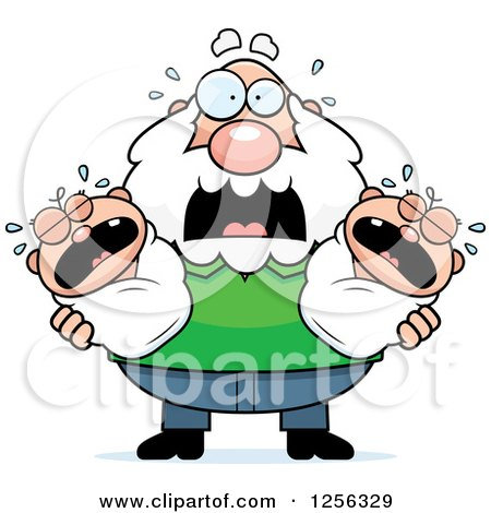 Clipart of a Stressed Caucasian Grandpa Holding Screaming Twin Babies - Royalty Free Vector Illustration by Cory Thoman