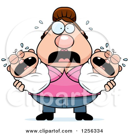 Clipart of a Stressed Caucasian Mother Holding Twin Babies - Royalty Free Vector Illustration by Cory Thoman