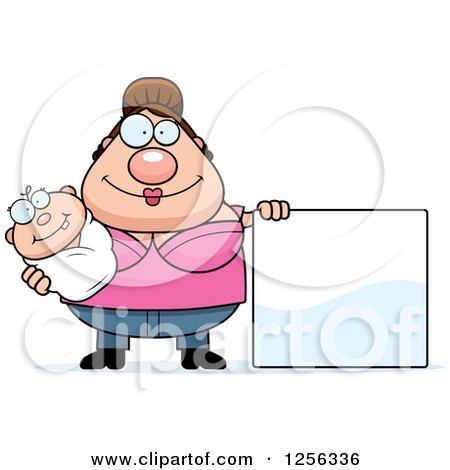 Clipart of a Happy Caucasian Mother Holding a Baby by a Blank Sign - Royalty Free Vector Illustration by Cory Thoman