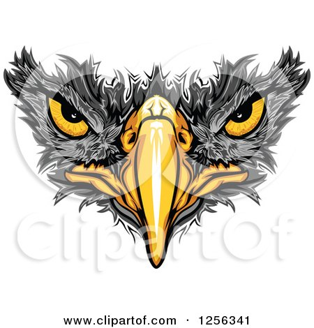 Clipart of a Black Hawk Beak and Eyes - Royalty Free Vector Illustration by Chromaco