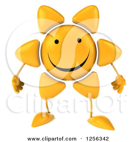 Clipart of a 3d Happy Sun Character - Royalty Free Vector Illustration by Julos