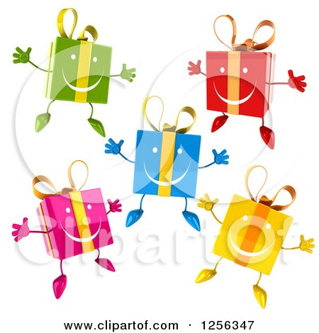 Clipart of Colorful Happy Gift Boxes Jumping - Royalty Free Vector Illustration by Julos