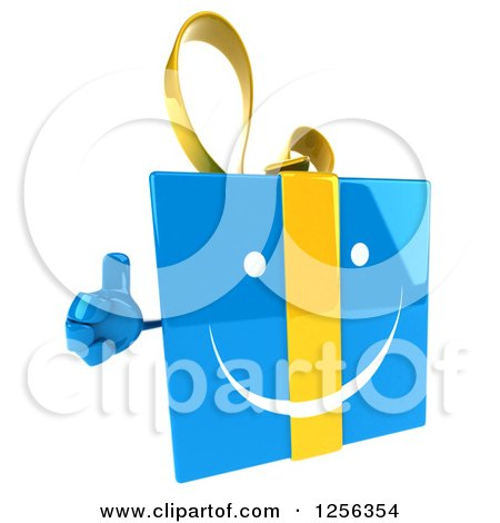 Clipart of a 3d Blue and Yellow Gift Box Character Holding a Thumb up - Royalty Free Vector Illustration by Julos