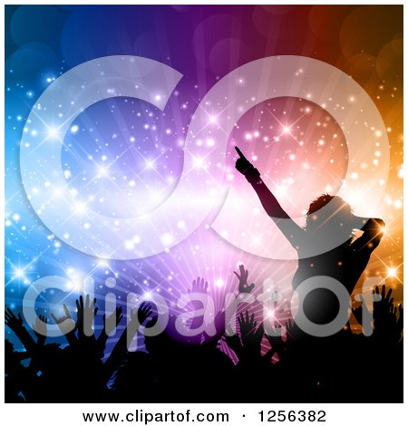 Clipart Of A Crowd Dancing At A Party Over Colorful Lights And Flares Royalty Free Vector Illustration