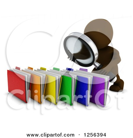 Clipart of a 3d Brown Man Searching Files with a Magnifying Glass - Royalty Free Vector Illustration by KJ Pargeter