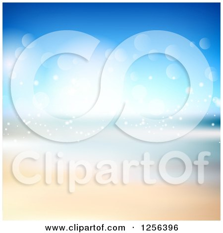 Clipart of a Summer Beach with Sparkling Lights - Royalty Free Vector Illustration by KJ Pargeter