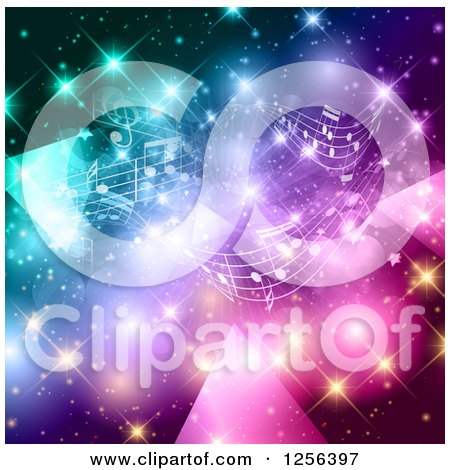 Clipart of a Music Note Background with Colorful Lights and Flares - Royalty Free Vector Illustration by KJ Pargeter