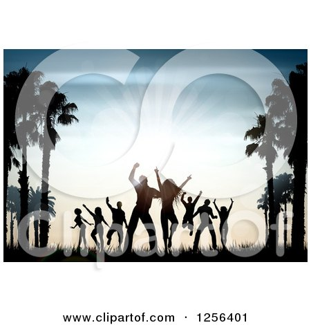 Clipart of Silhouetted People Dancing Between Palm Trees at Sunset - Royalty Free Vector Illustration by KJ Pargeter