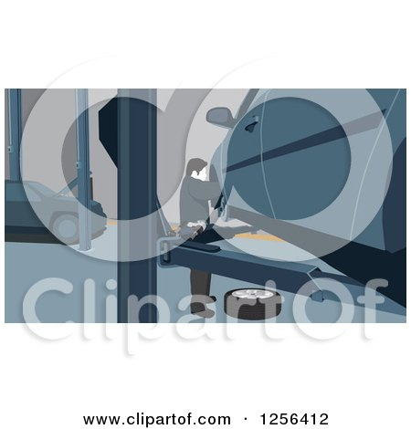 Clipart of a Man Changing Car Tires in a Garage - Royalty Free Vector Illustration by David Rey