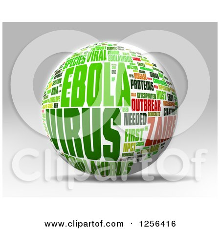 Clipart of a 3d Green and Red Ebola Virus Outbreak Word Collage Sphere over Gray - Royalty Free Illustration by MacX