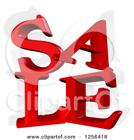 Clipart of a 3d Red SALE Text and Shadow over White - Royalty Free Illustration by MacX