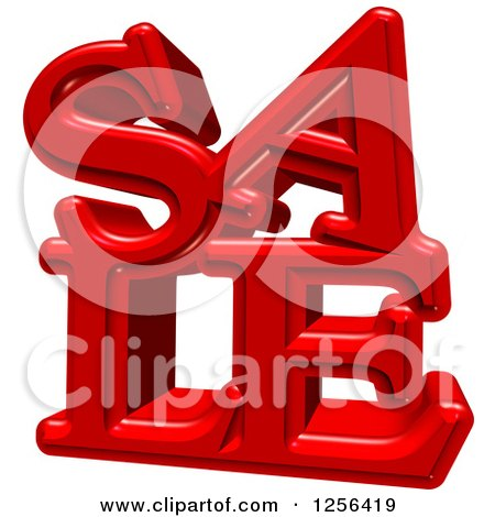 Clipart of a 3d Red SALE Text over White - Royalty Free Illustration by MacX