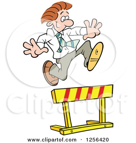 Clipart of a Happy Caucasian Businessman Leaping over a Hurdle Obstacle - Royalty Free Vector Illustration by Johnny Sajem