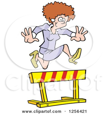 Clipart of a Happy Caucasian Business Woman Leaping over a Hurdle Obstacle - Royalty Free Vector Illustration by Johnny Sajem