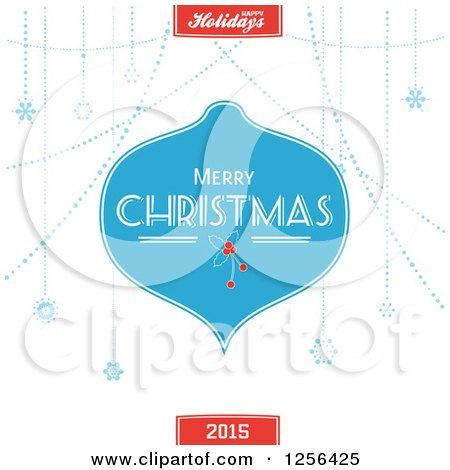 Clipart of a Blue Merry Christmas Greeting Bauble and Snowflakes with Text - Royalty Free Vector Illustration by elaineitalia