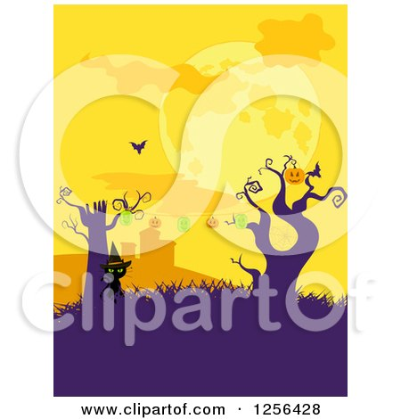 Clipart of a Strand of Halloween Jackolantern Pumpkin Lights on Dead Trees with a Bat and Cat in a Cemetery - Royalty Free Vector Illustration by elaineitalia