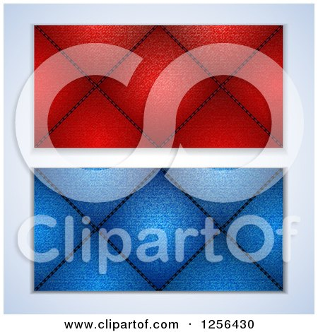 Clipart of Red and Blue Denim Sewin Diamond Cusions - Royalty Free Vector Illustration by elaineitalia