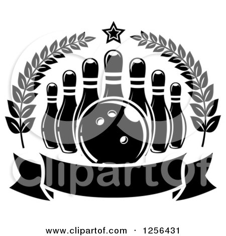Clipart of a Black and White Bowling Ball and Pins in a Wreath with a Banner - Royalty Free Vector Illustration by Vector Tradition SM