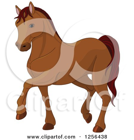 Clipart of a Cute Brown Walking Horse - Royalty Free Vector Illustration by Pushkin