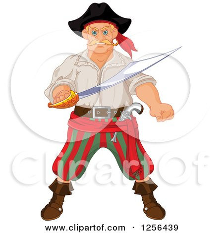 Clipart of a Tough Blond Male Pirate Holding a Sword - Royalty Free Vector Illustration by Pushkin