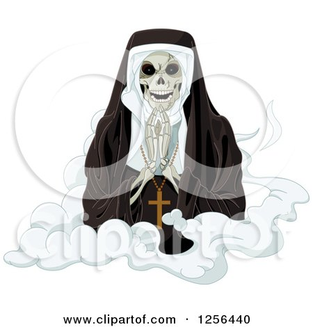 Clipart of a Nun Skeleton Praying on a Cloud - Royalty Free Vector Illustration by Pushkin