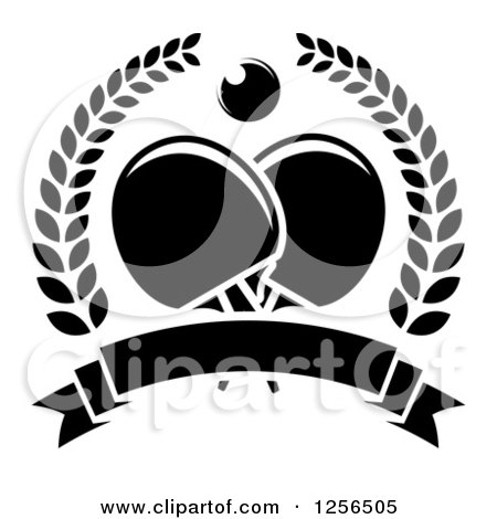 Clipart of a Black and White Ping Pong Ball and Paddles in a Wreath over a Blank Banner - Royalty Free Vector Illustration by Vector Tradition SM