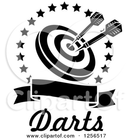 Black and white darts in a target inside a star circle over a blank baner with