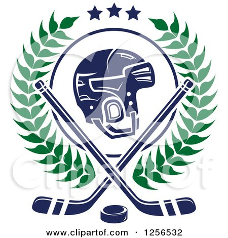 Clipart of a Helmet with Crossed Ice Hockey Sticks and a Puck in a Wreath - Royalty Free Vector Illustration by Vector Tradition SM
