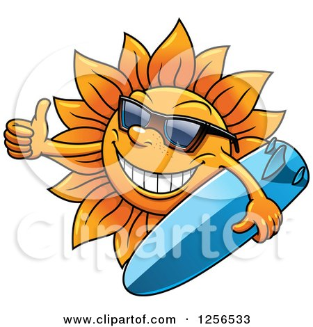 Clipart of a Summer Sun Wearing Glasses and Holding a Surfboard with a Thumb up - Royalty Free Vector Illustration by Vector Tradition SM