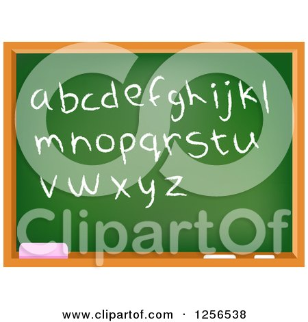 Clipart of a School Chalkboard with Lowercase Letters and Punctuation - Royalty Free Vector Illustration by yayayoyo
