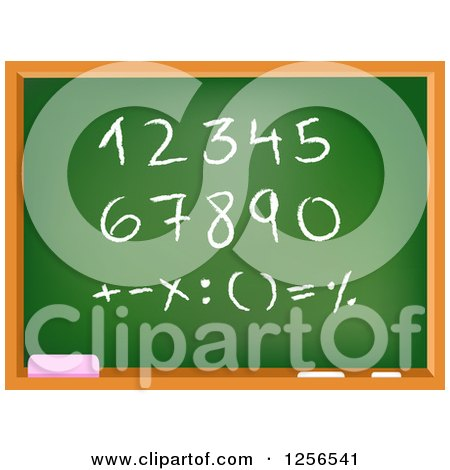Clipart of a School Chalkboard with Numbers and Math Symbols - Royalty Free Vector Illustration by yayayoyo