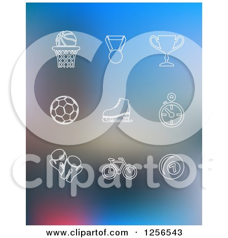 Clipart of White Sports Icons on Blurred Blue - Royalty Free Vector Illustration by Vector Tradition SM