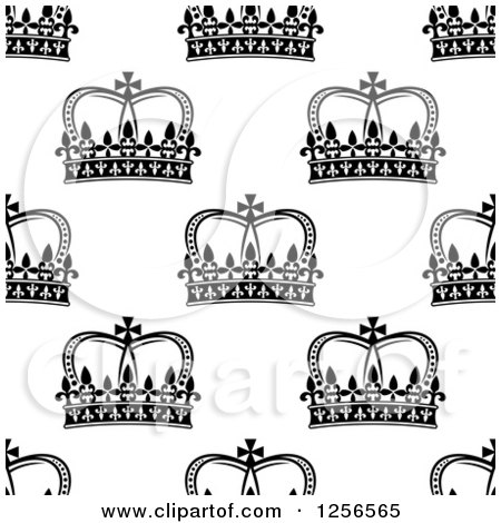 Clipart of a Seamless Pattern Background of Black and White Crowns - Royalty Free Vector Illustration by Vector Tradition SM