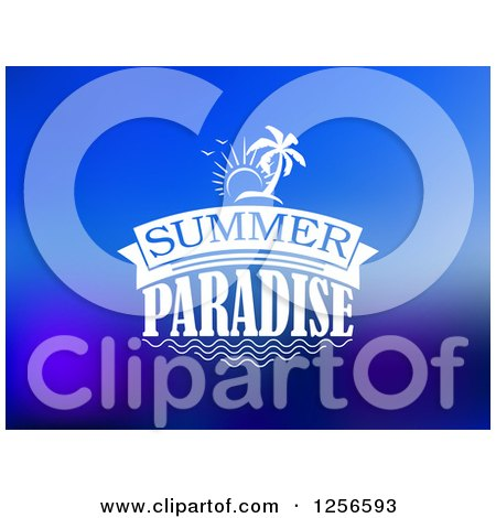 Clipart of Summer Paradise Text and Island on Blue - Royalty Free Vector Illustration by Vector Tradition SM