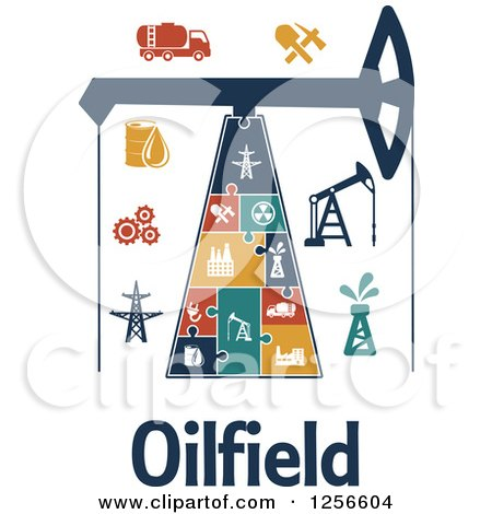 Clipart of Oilfield Text Under a Puzzle Derrek with Icons - Royalty Free Vector Illustration by Vector Tradition SM