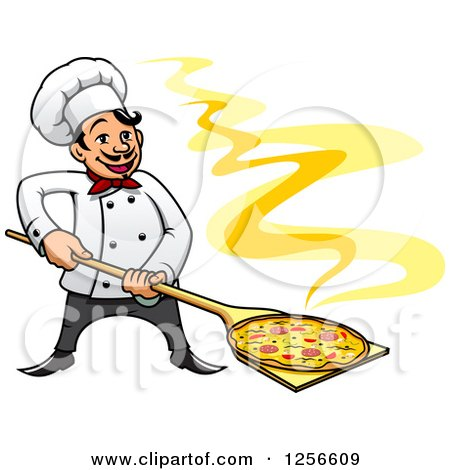 Clipart of a Happy Pizza Chef - Royalty Free Vector Illustration by Vector Tradition SM