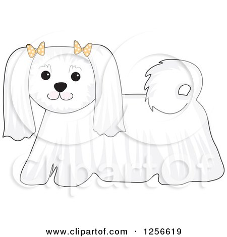 Clipart of a Cute White Maltese Dog Wearing Bows - Royalty Free Vector Illustration by Maria Bell