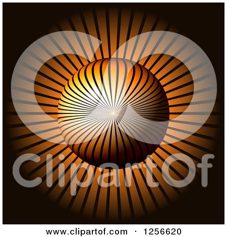 Clipart of a 3d Ray Sphere on Orange - Royalty Free Illustration by oboy