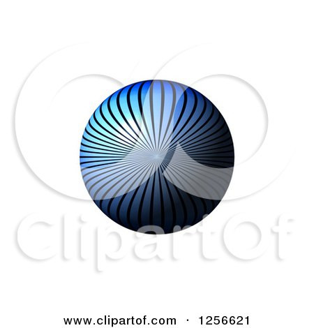 Clipart of a 3d Blue Ray Sphere on White - Royalty Free Illustration by oboy