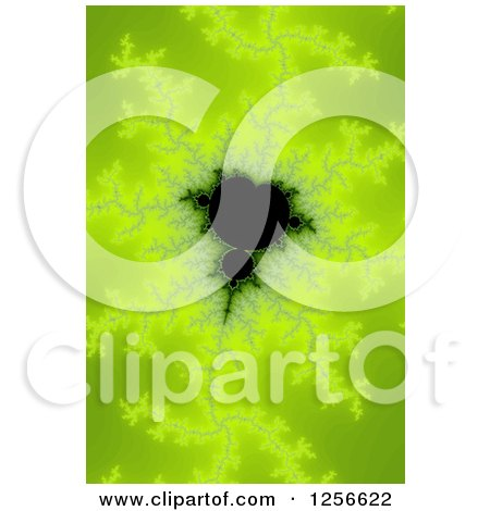 Clipart of a Green Mandelbrot Fractal Background - Royalty Free Illustration by oboy