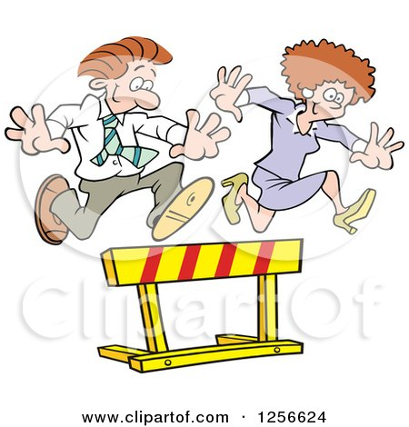 Clipart of a Happy White Businesswoman and Man Leaping over a Hurdle Obstacle - Royalty Free Vector Illustration by Johnny Sajem